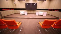 Big screen in a small conference room in RIA Novosti - stock footage