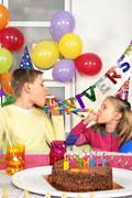 Two children at birthday party Stock Photos