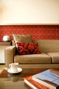 hotel suite living room with beautiful interior design - stock photo