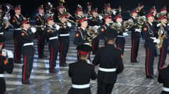 Orchestra of Moscow Suvorov Military Music College parade Stock Footage