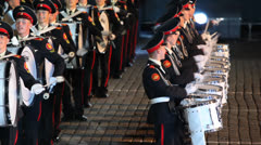 Drummers of Orchestra of Moscow Suvorov Military Music College Stock Footage