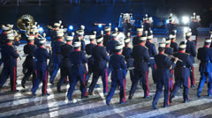 Orchestra of Spanish Royal Guard at Military Music Festival - stock footage