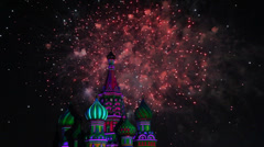 Top of Saint Basil Church and sky illuminated by fireworks Stock Footage