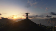 Stock Video Footage of Christ the Redemeer at Sunset, Rio de Janeiro
