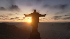 Christ the Redemeer at Sunset, Rio de Janeiro, close up - stock footage