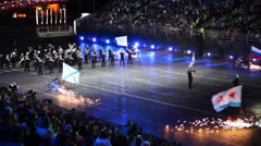Russian military orchestra parade at Military Music Festival - stock footage