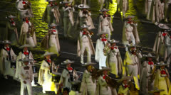 Mexican orchestra march at Military Music Festival - stock footage