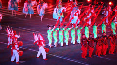 China military orchestra parade at Military Music Festival - stock footage