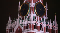 Spasskaya Clock tower in Red Square at night Stock Footage