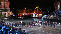 Parade of Moscow Suvorov Military Music College at Festival Stock Footage