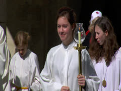 News Footage of Easter Church Celebration Parade in Europe Town Religion Pray Stock Footage