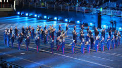 Parade of english orchestra at Military Music Festival - stock footage