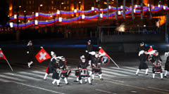 Secret Corp drum Orchestra of Switzerland on performance Stock Footage