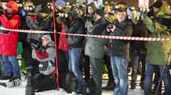 Photographers taking pictures in sports complex Luzhniki Stock Footage