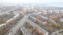 Aerial city panorama in the morning with traffic Stock Footage