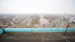 City panorama from top of building at day Stock Footage