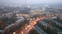 Aerial panorama of the city in the evening Stock Footage