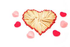 Heart shape made form group of matchstick Stock Photos