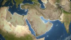 Spinning Earth with Middle East country maps. Stock Footage