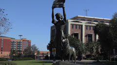 The Waving Girl Statue- Savannah Georgia Stock Footage