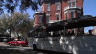 Stock Video Footage of Kehoe House and Old Savannah Tours Trolley