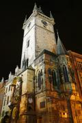 tower with astronomical clock at prague city, czech republic - stock photo