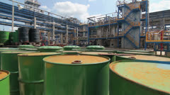 Barrels At The Refinery. Dolly Shot - stock footage