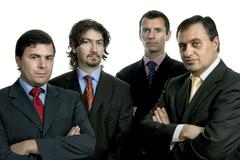 four young business men portrait on white - stock photo