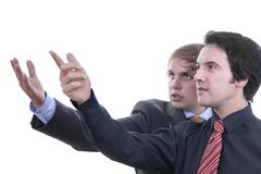 two young business men portrait on white - stock photo