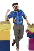 Happy silly salesman with some boxes, isolated on white Stock Photos