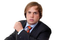 Stock Photo of young business man portrait in white background