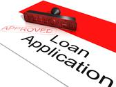 Stock Illustration of loan application approved showing credit agreement
