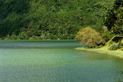 azores green lake of furnas at sao miguel island - stock photo