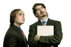 two young business men portrait isolated on white - stock photo