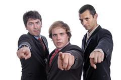 three business men  pointing - stock photo