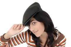 teen wearing hat. isolated - stock photo