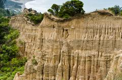 cathedral cliffs south island of new zealand - stock photo
