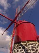 azores ancient windmill at Faial island - stock photo
