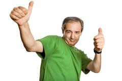 mature man playing silly, isolated on white - stock photo