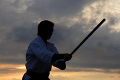 Aikido master silhouette with stick at sunset Stock Photos
