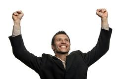victorysuccessful business man with open arms isolated - stock photo
