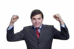 successful business man with open arms isolated on white - stock photo