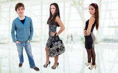 Three young casual teenagers, full body picture Stock Photos