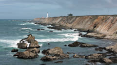 Rough ocean waves Point Arena Lighthouse California HD 5802 Stock Footage