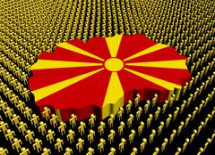Macedonia map flag surrounded by many abstract people illustration Stock Illustration