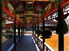 red correidor, zhongshan park, beijing china - stock photo