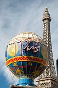 eiffel tower restaurant and montgolfier balloon on the las vegas strip in nev - stock photo