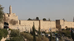 David tower, Ancient Jerusalem walls. Stock Footage