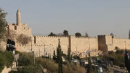 Stock Video Footage of David tower, Ancient Jerusalem walls.