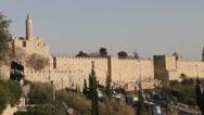 David tower, Ancient Jerusalem walls. Stock Footage